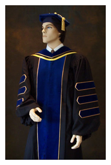 phd gown with gold piping