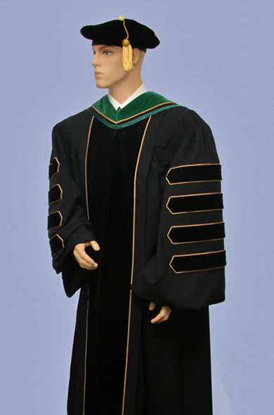 doctoral gown with four velvet bars